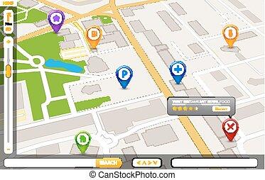 città, servizio, mappa, concept., disegno, prospettiva, gps, 3d