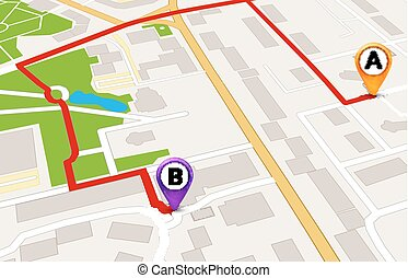 città, servizio, mappa, concept., disegno, prospettiva, sagoma, gps, tracciato, 3d