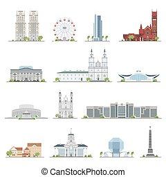 città, set, locali, costruzioni, collection., appartamento, famoso, minsk, illustrazione, style.
