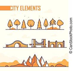 città, set, oggetti, moderno, -, isolato, vettore, elementi