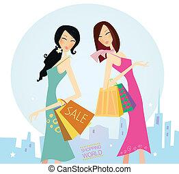 città, shopping, womans