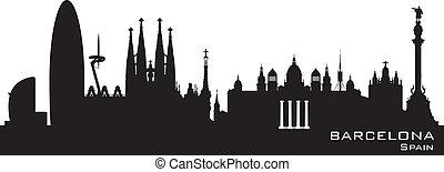 città, silhouette, barcellona, orizzonte, vettore, spagna