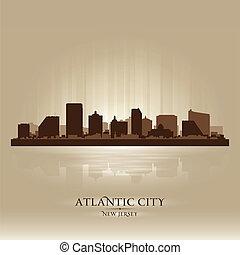città, silhouette, città, orizzonte, atlantico, nuovo-jersey