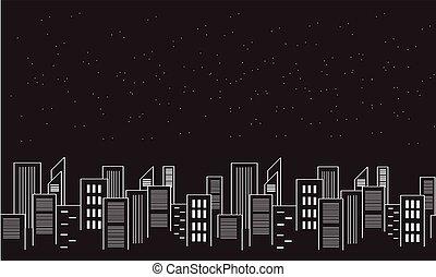 città, silhouette, collezione, casato