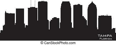 città, silhouette, florida, orizzonte, vettore, tampa