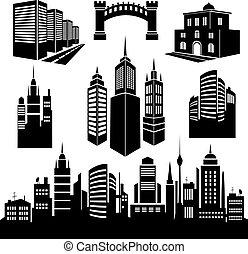 città, silhouette, images., collezione