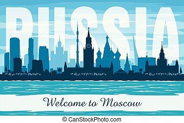 città, silhouette, mosca, orizzonte, vettore, russia