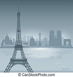 città, silhouette, parigi francia, orizzonte, fondo