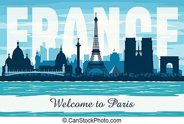 città, silhouette, parigi francia, orizzonte, vettore