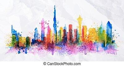 città, silhouette, ricoprire