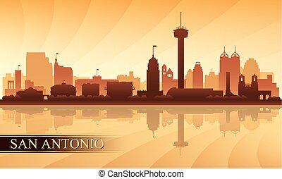 città, silhouette, san antonio, orizzonte, fondo
