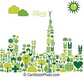 città, silhouette, verde, ambientale, icone