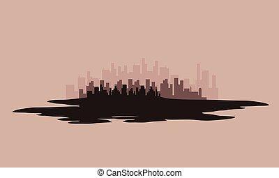città, silhouette, vettore, illustrazione