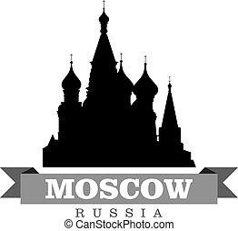 città, simbolo, vettore, mosca, russia