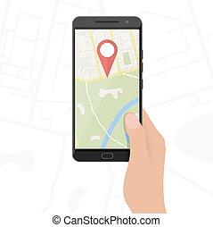città, smartphone, mappa, mani