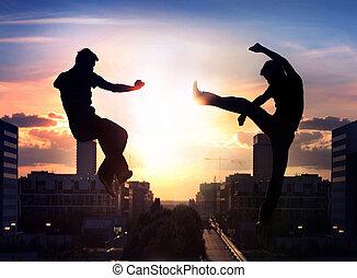 città, sopra, combattenti, due, capoeira, fondo