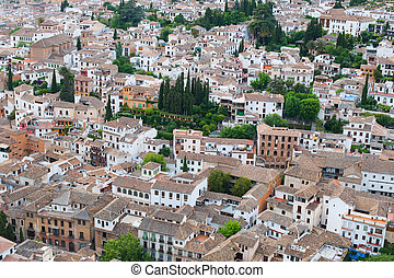 città, sopra, tetti, granada, vista