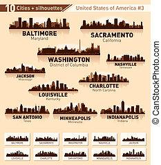 città, stati uniti, 10, set., orizzonte, #3, città
