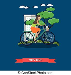 città, stile, appartamento, bicicletta, illustrazione, vettore, sentiero per cavalcate, ragazza