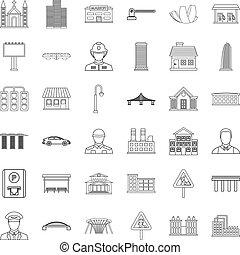 città, stile, contorno, icone, set, esecutivo