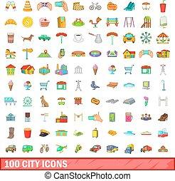 città, stile, icone, set, 100, cartone animato