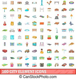 città, stile, icone, set, elemento, 100, cartone animato