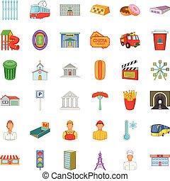 città, stile, icone, set, esecutivo, cartone animato