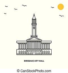 città, stile, naturale, brisbane, viaggiare, illustrazione, salone, fondo, mondo, linea, monument.