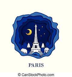 città, stile, parigi, destinazione corsa, mestiere, papercraft, francia, scene., carta, digitale, notte, punto di riferimento, concept., art.