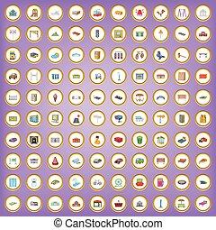 città, stile, set, icone, elemento, 100, cartone animato
