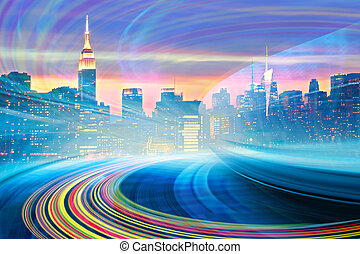 città, trails., colorito, urbano, collection., astratto, moderno, centro, illustrazione, movimento, orizzonte, andare, york, mio, luce, nuovo, velocità, immagine, autostrada