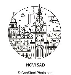 città, triste, serbian, novi, icona