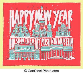 città, turistico, manifesto, mosca, tipografico, mano, vettore, disegnato