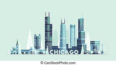 città, unito, chicago, stati, orizzonte, vettore, disegnato