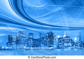 città, velocità, trails., movimento, astratto, centro, luce blu, urbano, moderno, illustrazione, autostrada, andare