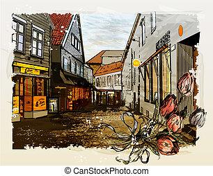 città, vendemmia, illustrazione, acquarello, strada., style.
