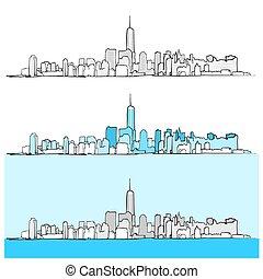 città, versions, tre, orizzonte, york, nuovo