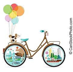 città, vettore, bicicletta, verde