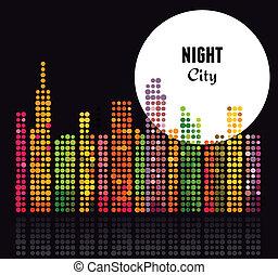 città, vettore, -, fondo, notte