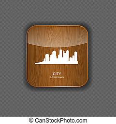 città, vettore, icone, illustrazione, domanda, legno