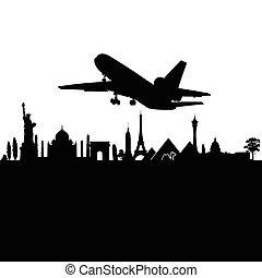 città, viaggiare, vettore, nero, sopra, aeroplano