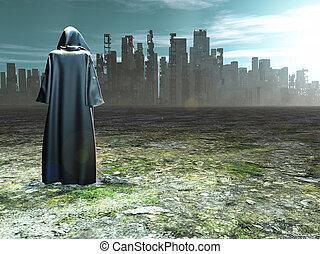 città, viaggiatore, distrutto, prima