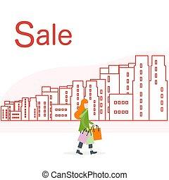 city., grande, concept., vendita, donna, shopping