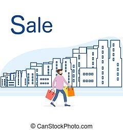 city., grande, concept., vendita, shopping, uomo