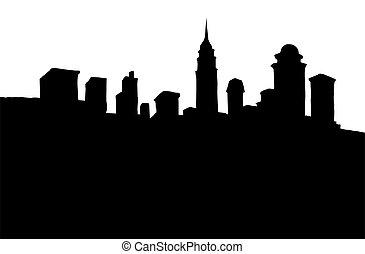city., moderno, arginamento, vettore, disegno