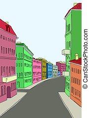 city..eps, strada, vecchio, illustrazione