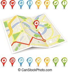 citymap, turista, locali, marcatori, importante, 3d