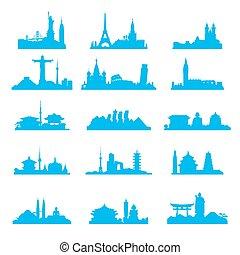 cityscape, attrazioni, set, silhouette, famoso