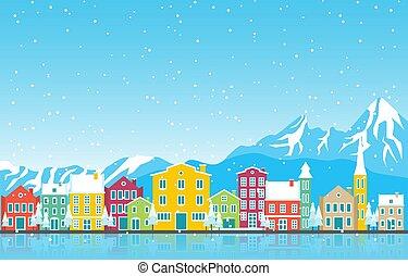 cityscape, inverno, città, punto di riferimento, neve, orizzonte, austria, illustrazione, costruzione