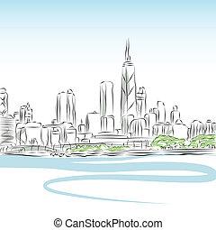 cityscape, rivestire disegno, chicago